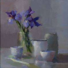 Christine Lafuente, Iris, Jars, and Teacup, 2015, oil on linen, 16 x 16 inches - Somerville Manning Gallery