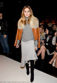 Lots of layers:For the show, Olivia wore a grey ribbed turtleneck sweater with a lighter ...