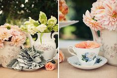 Tea cups and tea pots filled with flowers. Pretty Pretty.