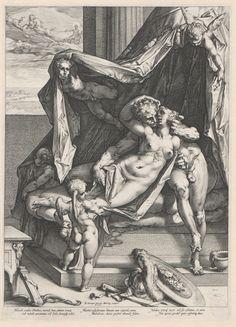 Hendrick Goltzius | Mars en Venus, Hendrick Goltzius, 1588 | Mars en Venus liggen samen in bed, engeltjes staan en vliegen om hen heen, Cupido staat bij het voeteneind. Door het raam is te zien dat Apollo eraan komt op zijn zonnewagen. onder de voorstelling drie maal twee Latijnse versregels.