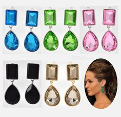 "NEW Clip-On Earrings 2"" Long in Five Colors <3 Celebrity Inspired Angelina Jolie Red Carpet Look Boxed $20 Free USA Shipping"