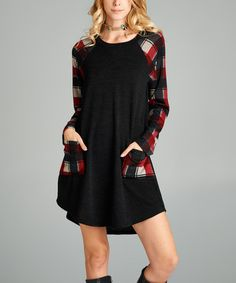 This Black & Red Plaid-Sleeve Contrast-Pocket Dress is perfect! #zulilyfinds