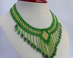 Collar verde collar babero collar Vintage collar Collar collar abalorios joyas collar moderno collar hecho a mano joyas Boho de la franja