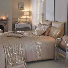 blush and gold bedroom | Kylie Minogue Summer bedding has arrived