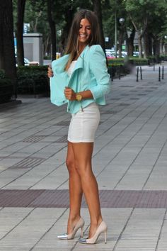 white dress, mint blazer