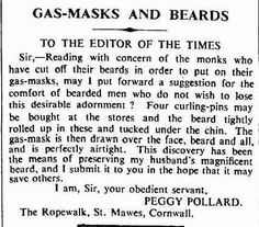 How to get your beard into a gas mask - a reader's handy hint, 1939
