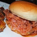 Pittsburgh Chipped Ham Barbecues Recipe - Barbequed ham sandwiches are a quick solution to dinner. The barbeque sauce is simple and made from scratch on the stove top. Ham Barbecue Recipe, Barbeque Sauce, Chipped Ham Bbq Recipe, Bbq Ham Recipes, Barbecue Ribs, Bbq Sauces, Amish Recipes, Dutch Recipes, Barbecue Chicken