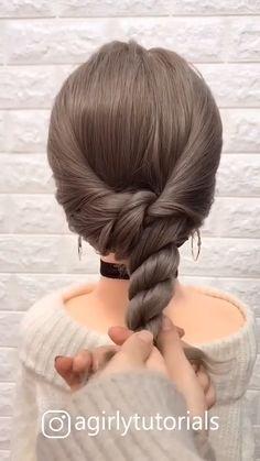 Medium Hair Braids, Bangs With Medium Hair, Cute Hairstyles For Medium Hair, Up Hairstyles, Braided Hairstyles, Hair Up Styles, Medium Hair Styles, Updo Tutorial, Twist Braids
