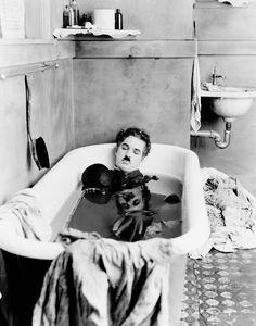 Chaplin taking a nap.