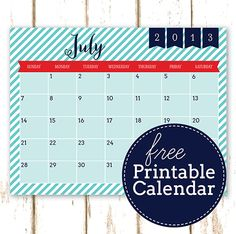 Free Printable July 2013 Calendar