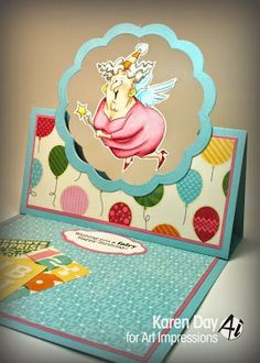 Art Impressions: Ai Spinners:  Fairy Spinner Set (Sku #4546) handmade easel birthday card.  Interactive