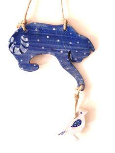 TANTI GATTI, TANTI MICI, COMPRATEVELO E SIATE FELICI :) Blue cat with polka dots. Gatto blu a pois di LabLiu su Etsy, €17.00