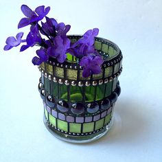 Mosaic candle holder Glass mosaic votive Stained glass art candle pillar display Winter home decor table lighting Christmas holiday gifts