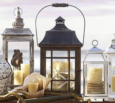 Briarwood Lanterns from Pottery Barn. Display idea with rope.