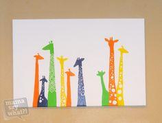 Cute, cheap, and easy colorful DIY canvas painting #nursery #giraffes