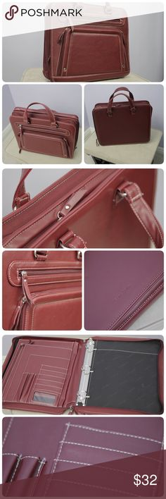 """Samsonite Soft Leather Portfolio Organizer Red Soft leather like vinyl exterior.   Main compartment features 3-ring Binder, card slots and file pockets Rear compartment features a padded pocket that will fit most laptop up to 13.3"""" or tablet computer Zip-around closure   Size: 14 x 12 x 4 ❤Small scuffs on the front zipper, refer to last pict❤  ❤This item is granted permission by PM support as this consider as a briefcase❤ samsonite Bags Laptop Bags"""