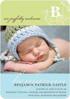 Boy Photo Birth Announcements Vintage Monogram: Boy - Front : Powder Blue