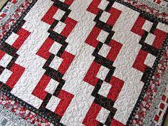 red white black quilt