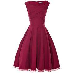 Anni Coco Women's Pleated Bodice 1950s Vintage Rockabilly Swing Dresses