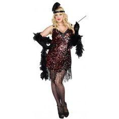 Fantasia Feminina Anos 20 Plus Size Cabaret Halloween Carnaval