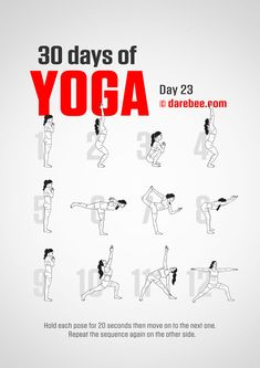 Yoga For Beginners 30 Day Challenge - Fitness Style 30 Tage Yoga Challenge, 30 Day Challenge, Workout Challenge, Darbee Workout, Yoga Routine, 30 Day Yoga, Types Of Yoga, Yoga Exercises, Stretches