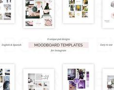 Moodboard template, Social Media template, Instagram template, Brandboard, Brand Style, Photoshop templates    #etsyshop #etsy #moodboarddesign #moodboards #templates #psd #socialmedia #instagram #branding