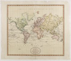 CARY, J. -  A New Chart of the World On Mercator's Projection: Exhibiting The Tracks & Discoveries of the most Eminent Navigators To The Present Period. . . 1801