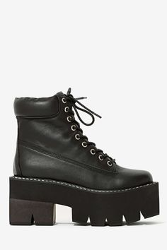 Jeffrey Campbell Nirvana Leather Boot - Black Square