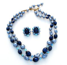 Blue Bead Set Necklace And Earrings Lucite by TheJewelryLadysStore