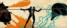 strijd:  de strijd tussen hart en brein. Het effect is versterkt door het complementaire kleur contrast (blauw - oranje) en het sterke contour van de persoon en de lijnen