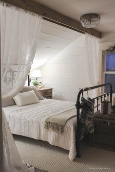 Awesome 150 Stunning Romantic Master Bedroom Design Ideas You Must Try Decoor - room divider ideas - Bedroom Decor Romantic Master Bedroom, Farmhouse Master Bedroom, Master Bedroom Design, Bedroom Rustic, Farmhouse Curtains, Master Suite, Diy Bedroom, Attic Bedroom Decor, Bedroom Sets
