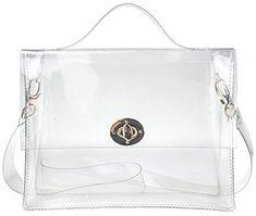 Clear Bag with Turn Lock Closure Cross Body Bag Women s Satchel Transparent  Messenger Shoulder Handbag( 2f05bdaa3ee00