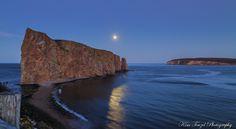 Harvest Full Moon rising over Percé Rock, Québec on Monday. Percé, QC