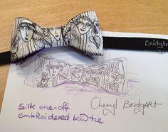Cheryl Bridgart's embroidered one-off man's silk bow tie