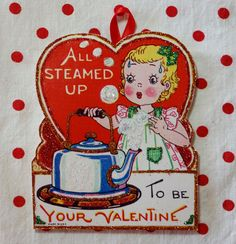 Retro Girl with Kettle Valentine Ornament Handmade by ToysInTheCloset