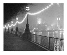 River Thames by Night Art Print by Shener Hathaway at Art.com