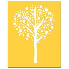 Tree Dot  11x14 Original Print  Modern Abstract Simple by Tessyla, $25.00