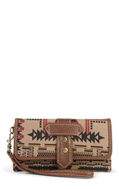Deb Shops Tribal Print Fold Over Wallet with Wrist Strap $6.75