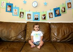 Monthly photo banner for first birthday decoration.  Get the stickers from http://www.stickybellies.com