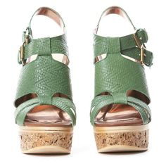 TWELFTH ST. BY CYNTHIA VINCENT Petra Heels in Green ❤ liked on Polyvore