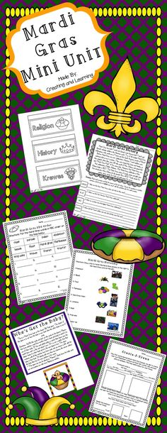 "This mini Mardi Gras unit covers the history and traditions of the holiday. Also included are some fun worksheets, a mini book and ""find the proof"" pages. Great for 2nd-5th grades!"