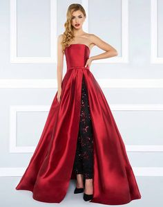0ca610c199e Burgundy strapless ball gown with pleated skirt and beaded skinny pant