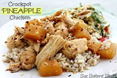Easy Crock Pot Pineapple Chicken from sixsistersstuff.com #chicken #recipe #slowcooker