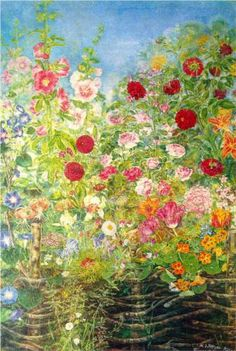 ❀ Blooming Brushwork ❀ - garden and still life flower paintings - Flowers by the fence - Kateryna Bilokur