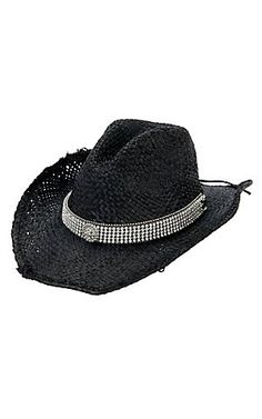M® Black Straw w/ Black Major Bling Band Crushable Hat | Cavender's Boot City