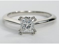 Princess-Cut Solitaire Engagement Ring in Platinum