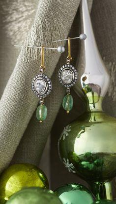 Emerald Geneva Diamond Earrings -  precious emerald stones in 18kt gold earrings with Polki and pavé diamonds.