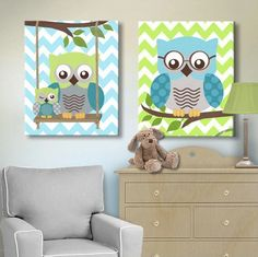 Teal Green Owls Decor - Boys Room Canvas Wall Art -The Owl Collection – MuralMax Interiors Owl Nursery Decor, Nursery Wall Art, Canvas Wall Art, Owls Decor, Personalized Wall Art, Baby Room Curtains, Teal Green, Saturated Color, Boy Room