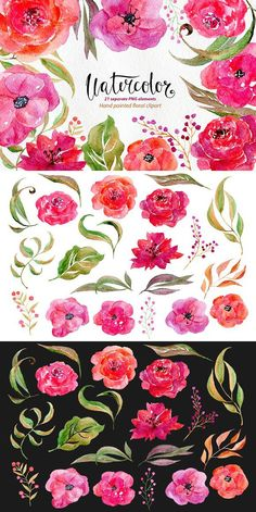 Watercolor flowers, 21 png clipart. Wedding Card Templates