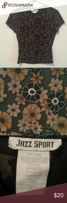 90s vintage grunge floral top Cute brown and black t-shirt style top from the 90s with flowers and daisies. It is a sheer mesh material. Label says medium,  also fits small. Made in usa. jazz sport Tops Blouses